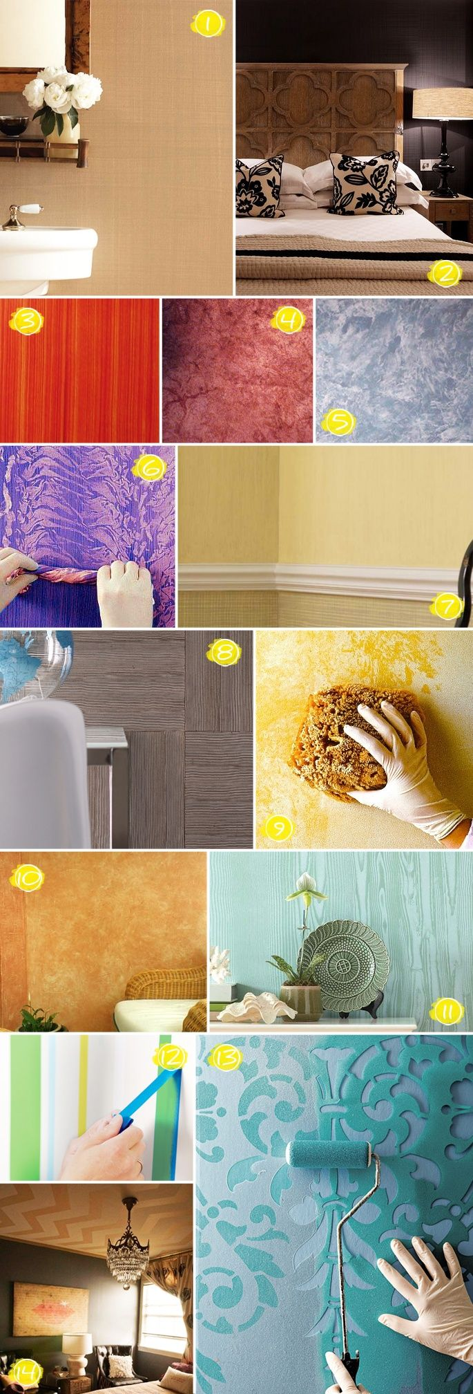 @Leann Guthrie for mom.... go to bottom and click Martha Stewart directions. Textured painting ideas - never have a plain wall again!