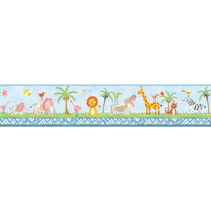 York Wallcoverings Growing Up Kids Jungle Boogie Removable Wallpaper Border, Blue