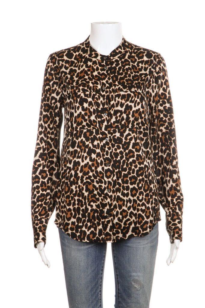 842dc969dab119 J.CREW Silk Blend Brown Leopard Print Button Down Shirt Top Size 0 ...