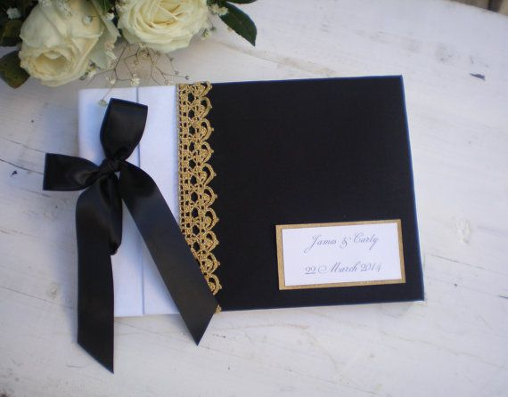 Black white gold guest book-Personalized  wedding by CraftStories