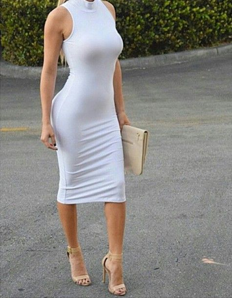 - Sleeveless Dress - Turtleneck - Exposed Back Zipper - Slight Stretch - Fits True To Size - 78% Polyester, 18% Rayon 4% Spandex - Midi Length - Body-con Fit Comes in your pick of black, blue or white.
