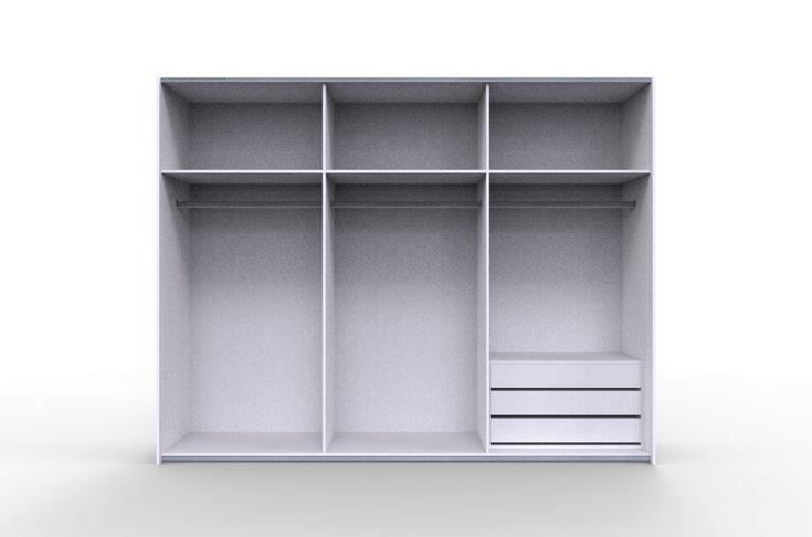 szafa z drzwimi przesuwnymi i dodatkowym kontenerem z szufladami