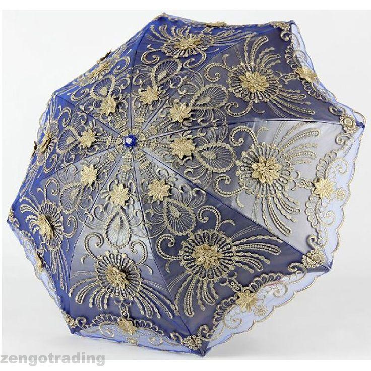 Embroidery Lace Elegant Vintage Parasol/Umbrella for Party/Shopping Anti UV #Parasol