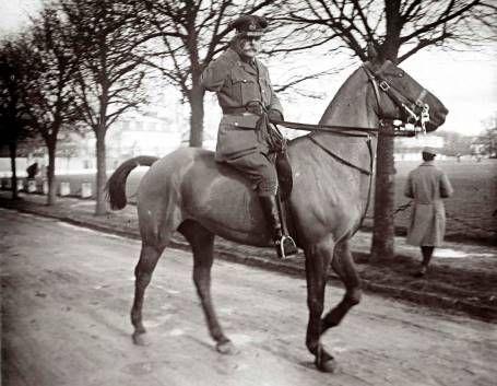 Daily life in WWI - An archive picture shows Field Marshall Douglas Haig riding a horse at an unknown location in France February 14, 1916. Haig was the British commander-in-chief during the Somme battle.