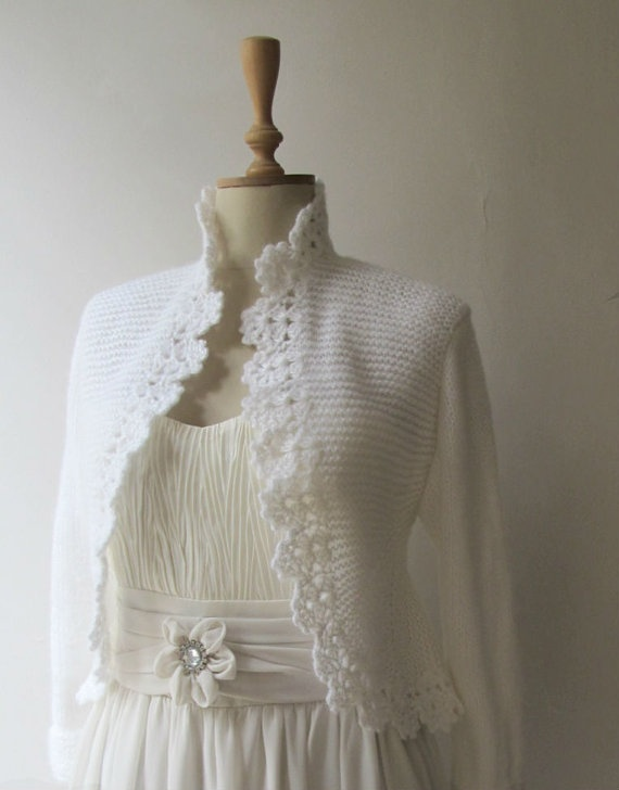 Wedding Jacket Hand Knitted Sweater Knitting Cardigan Crochet Border 3/4 Sleeve Bolero Shrug Made to Order