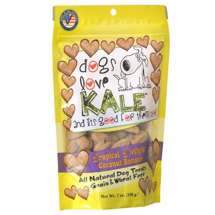 🐕 Dogs Love Kale Tropical Delight Wheat Free Dog Treats with Coconut and Banana are all natural treats with no wheat or gluten. Made with all real, human-grade ingredients. Kale provides a rich source of essential nutrients.