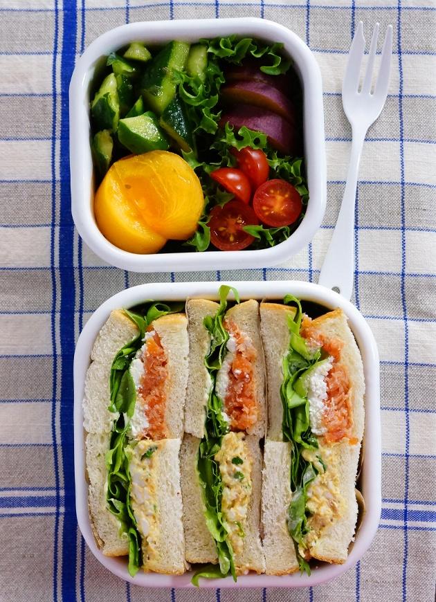 Japanese-Style Sandwich Box Lunch (Smoked Salmon & Cream Cheese, Egg Mayonnaise Salad & Tuna, Veggies)|サンドイッチ弁当