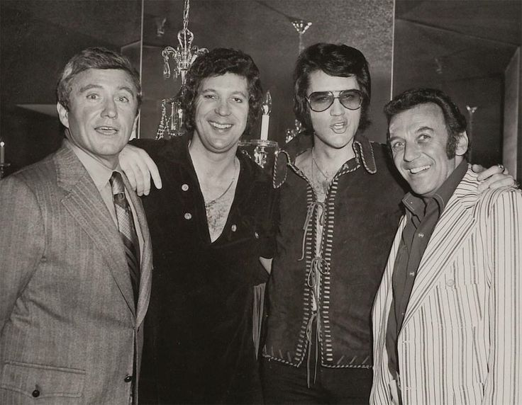 Las Vegas, Caesar's Palace, Elvis backstage with Merv Griffin, Tom Jones, Elvis and Norm Crosby, May 8 0r 9, 1971.