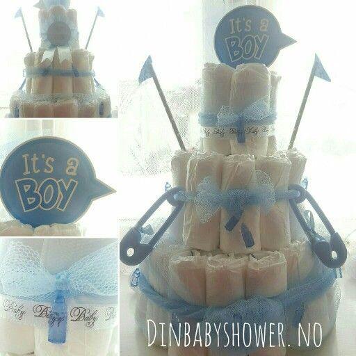 Bleiekake/diapercake fra www.dinbabyshower.no. Vi har det du trenger for å lage din egne unike bleiekake eller en fiks ferdig!