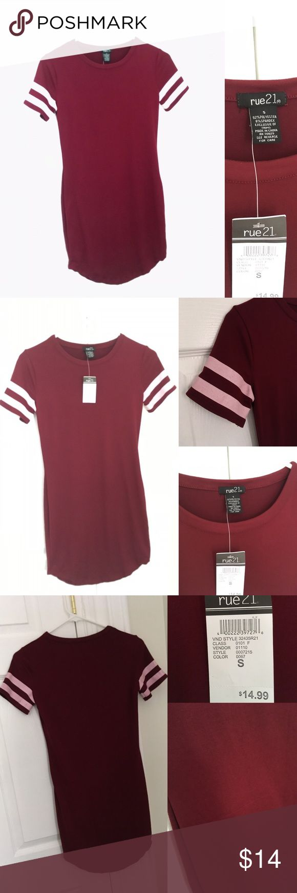 Soft Red Tunic Dress Comfy casual red-maroon tunic/shirt dress with white striped accent short sleeves. Fitted/skin tight stretchy material. Very soft and comfy, brand new, never worn. Noticed a slight run in the right front side of the fabric- doesn't affect look or feel, hardly noticeable. 92% polyester 8% spandex. Rue21 Tops Tunics