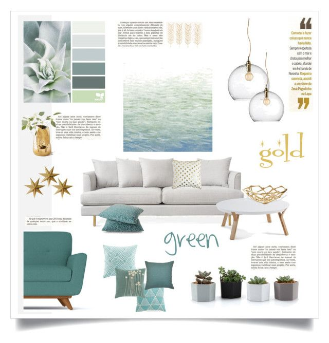 green and gold by levai-magdolna on Polyvore featuring interior, interiors, interior design, home, home decor, interior decorating, Ebb & Flow, Art Classics, Madison Park and Lotta Jansdotter