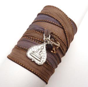 Silk Ribbon Bracelet with Buddha Pendant
