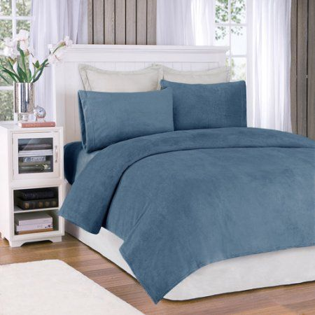 Comfort Classics Soloft Plush Solid Micro Raschel Bedding Sheet Set, Blue