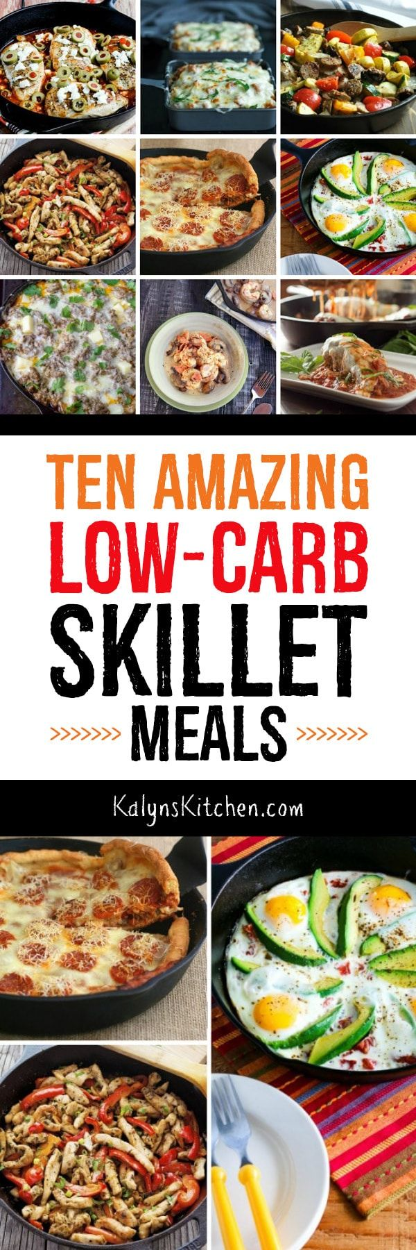 Who doesn't love a low-carb dinner that can be prepared with only one pan, so here are Ten Low-Carb Skillet Meals! You'll find delicious low-carb dinners here that you'll make over and over. [featured for Low-Carb Recipe Love on KalynsKitchen.com] #LowCarbRecipe #LowCarbDinner #LowCarbSkilletMeal #SkilletMeal #OnePanMeal
