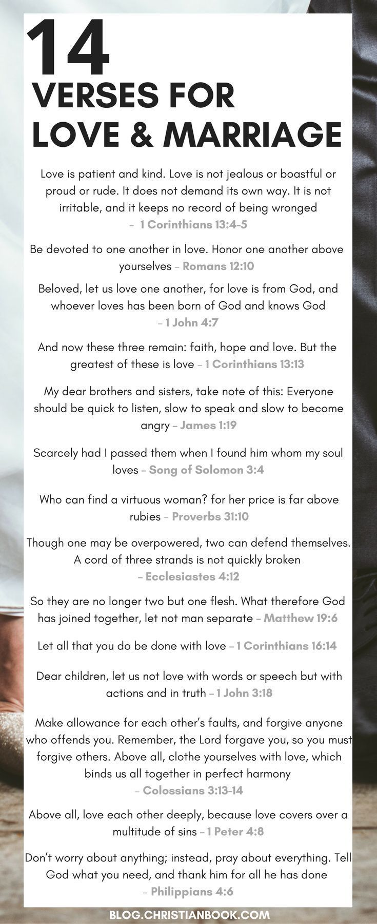 Whether you're recently engaged or soon to be celebrating a milestone wedding anniversary, here are some of the most valuable Bible verses about relationships, marriage and love.