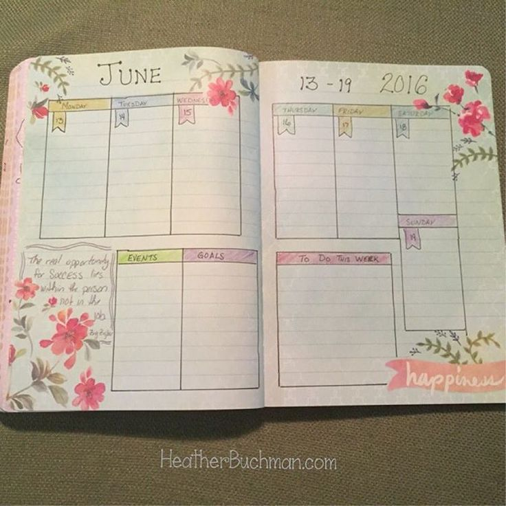 Just sharing my weekly layout and tips/thoughts on my bullet journal.  1.  I bought a cheap notebook at TJ MAXX to get me started. My journal is more for planning meals, taking notes, setting a few personal goals, and lots of art/doodling. It's not really used for detailed hourly timed day to day events. I might make quick notes of important things, but it's really all I do here is journal.  2.  Someone shared a tip to color code my week and match those colors for my dailies/trackers…
