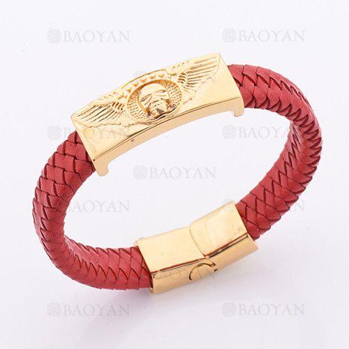 pulsera de cuero rojo con craneo dorado en acero 314 inoxidable-SSBTG1145348