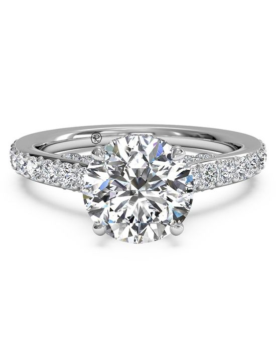 French-Set Diamond Band Engagement Ring - in 14kt White Gold (0.45 CTW) for a Round Center Stone