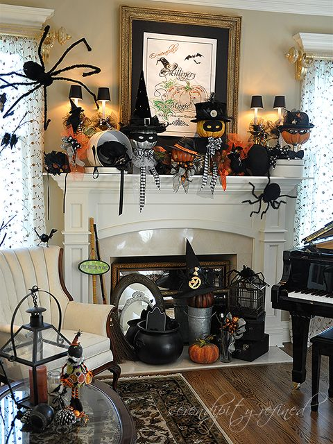 halloween mantel by serendipity refined - Halloween Mantle