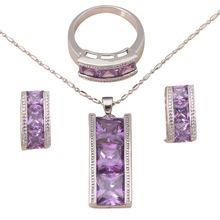 Ametyst obdélník tvar AAA zirkon Silver naplněné náušnice náhrdelník módní šperky Set Ring Sz # 7 # 8 pro ženy JS404A (Čína (pevninská část))