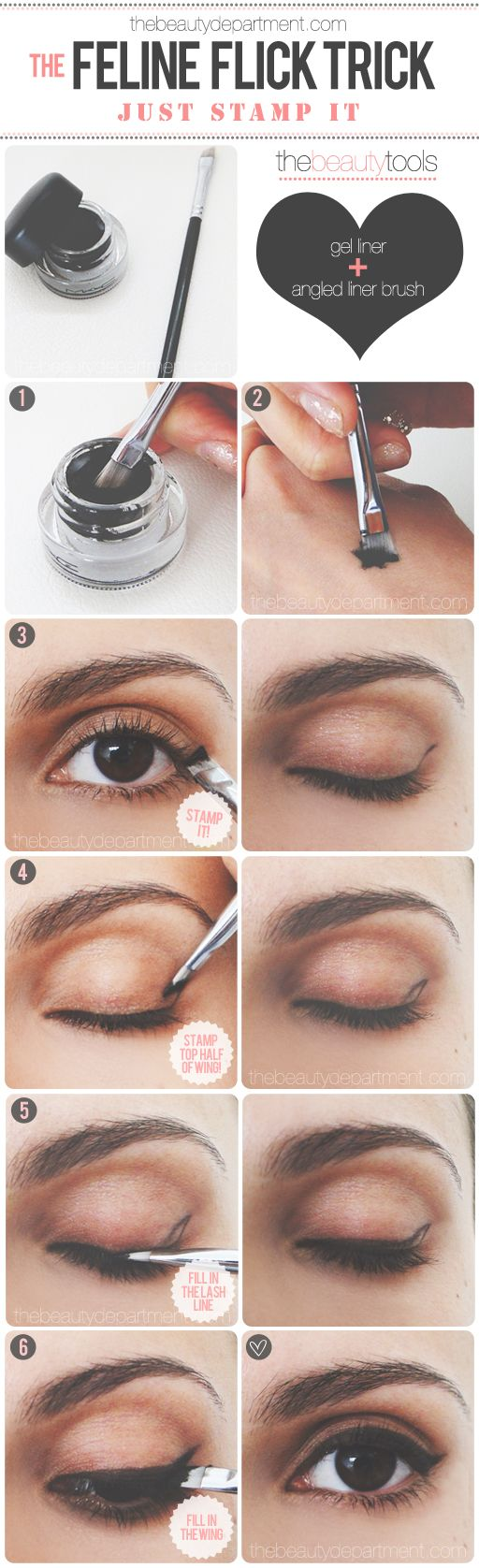 The width of the brush is the length of the wing, so just stamp it while angling it to the end of your brow!