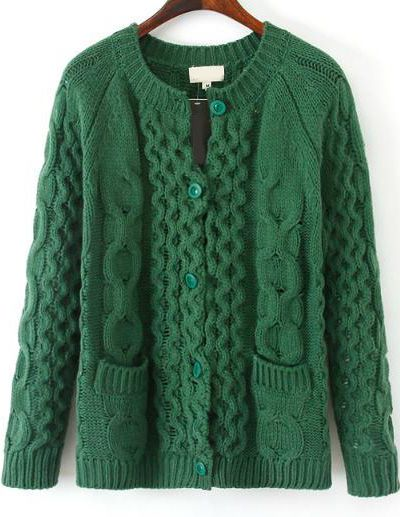 Green Long Sleeve Pockets Cable Knit Sweater 25.00