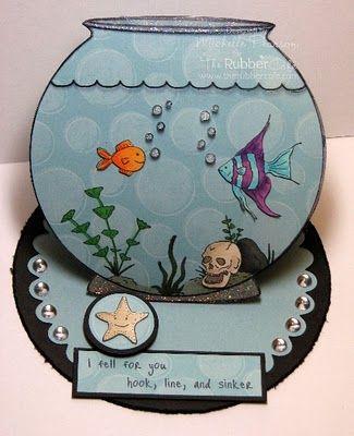 Fish Bowl Easel Card - bjl