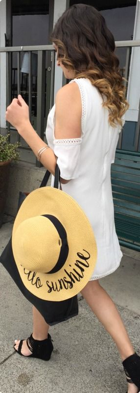 Off to Brunch with our Hello Sunshine Sunhat,  Open shoulder Crochet Dress and Comfy Black Sandals.