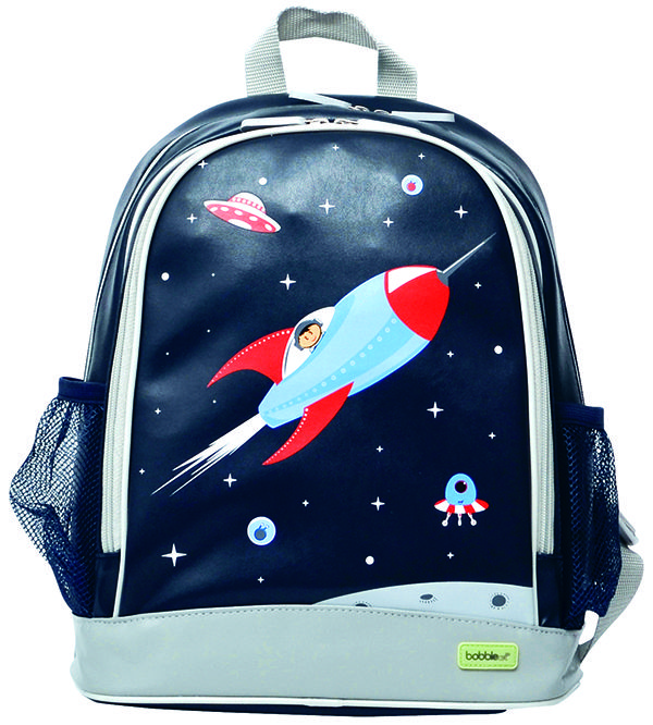 Large PVC Backpack - Rocket. These gorgeous #BobbleArt #kidsbackpacks are perfect for a day out, pre-school or daycare.... big enough to fit all the necessities a little one needs. #forkids#schoolbags