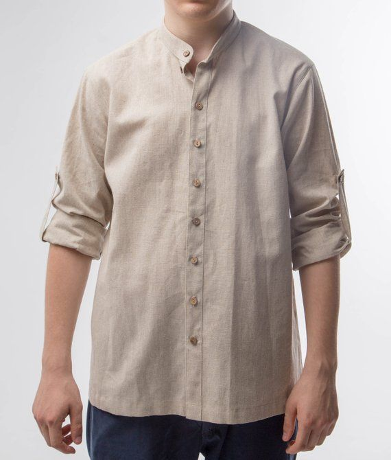 10ebd05a8f Man gray linen shirt with nehru collar   wooden buttons