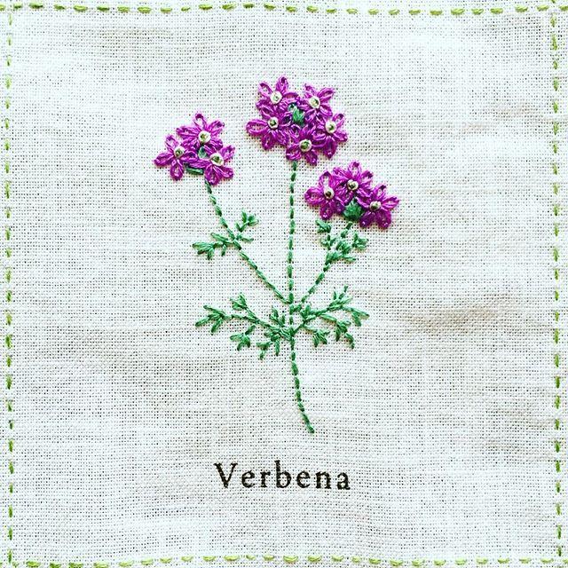2016.07.27 wed * Verbena「バーベナ」 * 花の部分はレゼーデージーステッチを重ねて刺します。 ふんわりした雰囲気で、かわいい。 * #刺繍 #青木和子 #ホビーラホビーレ#庭図鑑のモチーフクロス