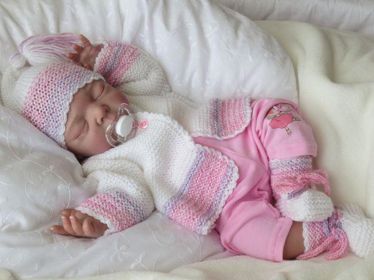 Babygarnitur 3-teilig Gr.50-56 weiß/rosa pastell von babys & dreams auf DaWanda.com