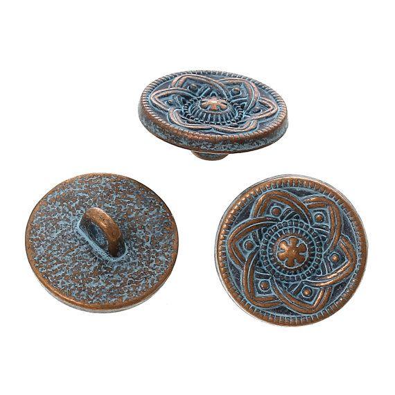 10 Copper Shank Buttons flower pattern 15mm 5/8