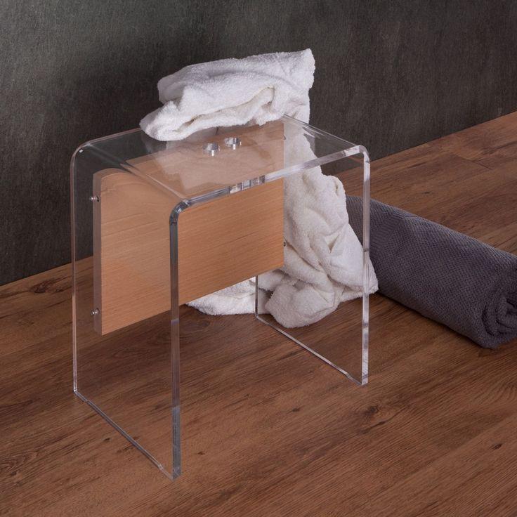 sgabello da bagno in plexiglass e legno con uno spessore di12 mm arricchito da un