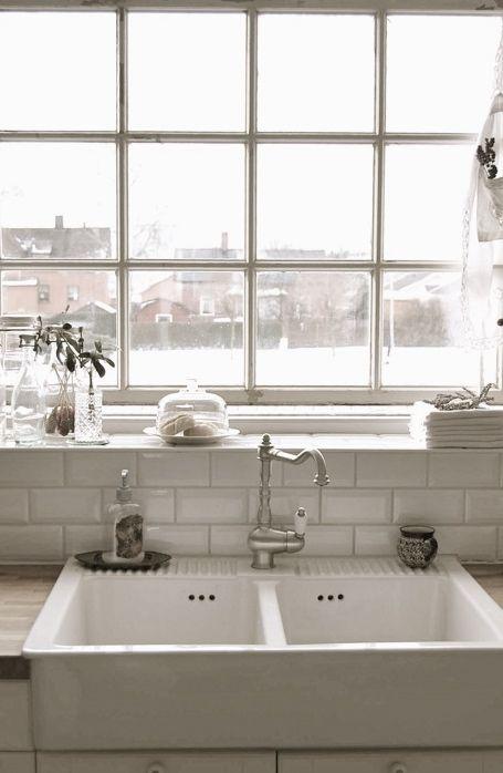 White Kitchen With Farmhouse Sink : combo... farm sink, subway tile and industrial window. White on white ...
