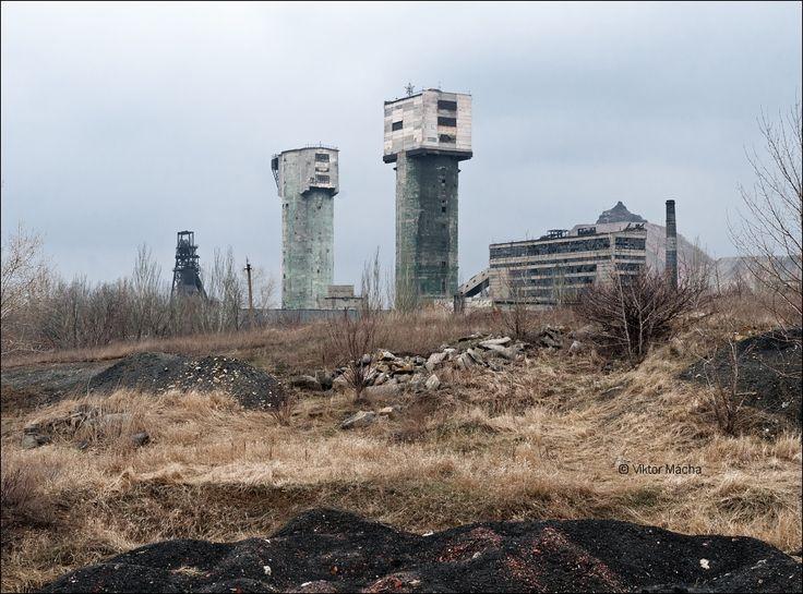 důl Gagarin, založený v roce 1963. Tehdy ještě v provozu. Gorlovka, Ukrajina (dnes Donětská Republika