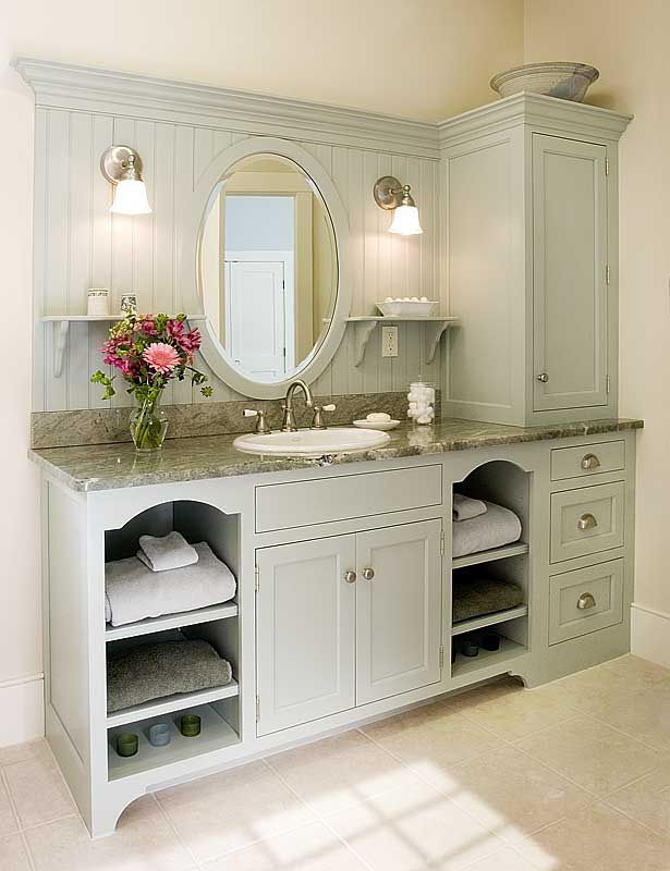 I like the little shelves for towels etc and the beadboard look behind the mirror