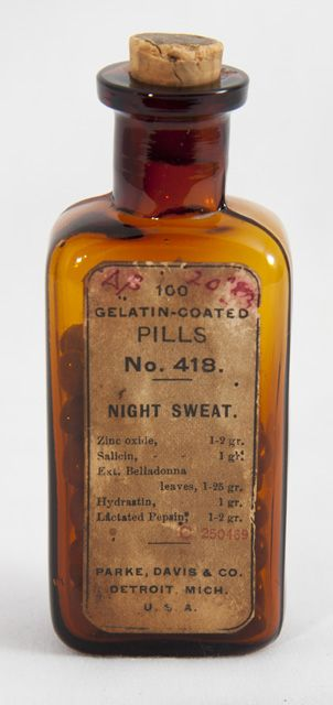 Night Sweat Pill Bottle, 1905, Davis Parke, Collection of the Museum of Health Care, 000001085 #pharmacy #history #health