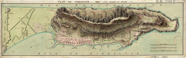 A map of Gibraltar and its fortifications, drawn in 1799 by Jean-Denis Barbié du Bocage