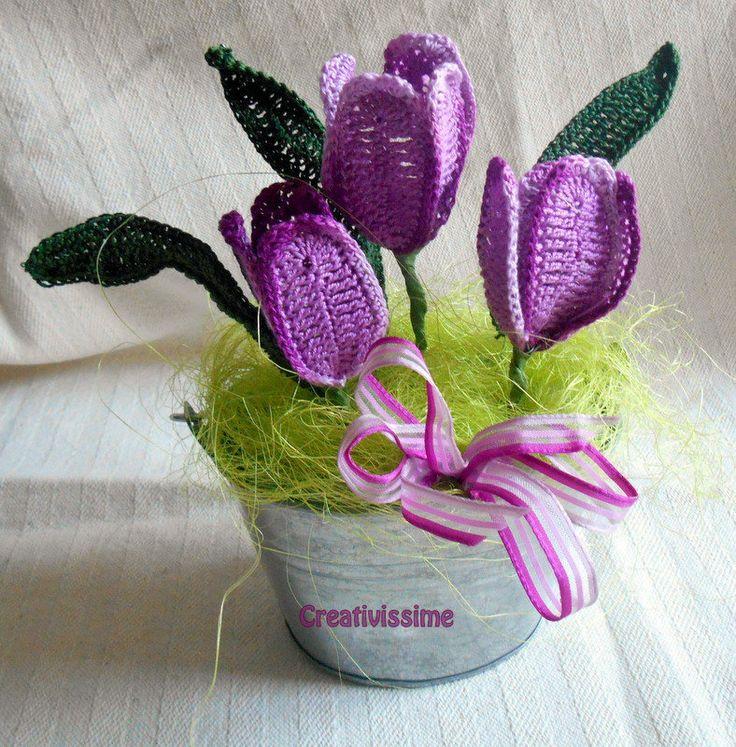 Secchiello di Tulipani viola all'uncinetto, by CREATIVISSIME, 23,00 € su misshobby.com