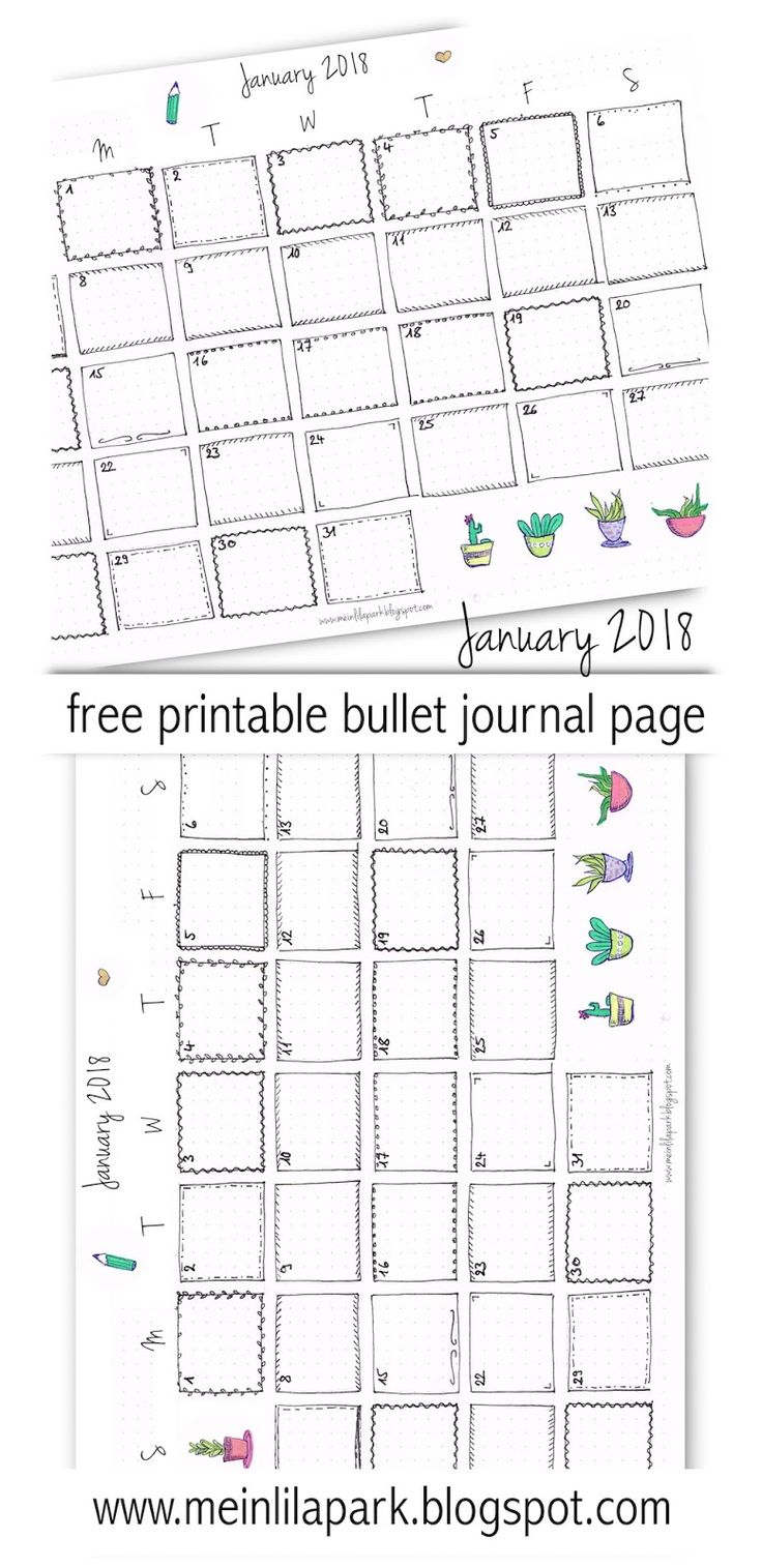 FREE printable 2018 calendar page | January 2018 | bullet journal page