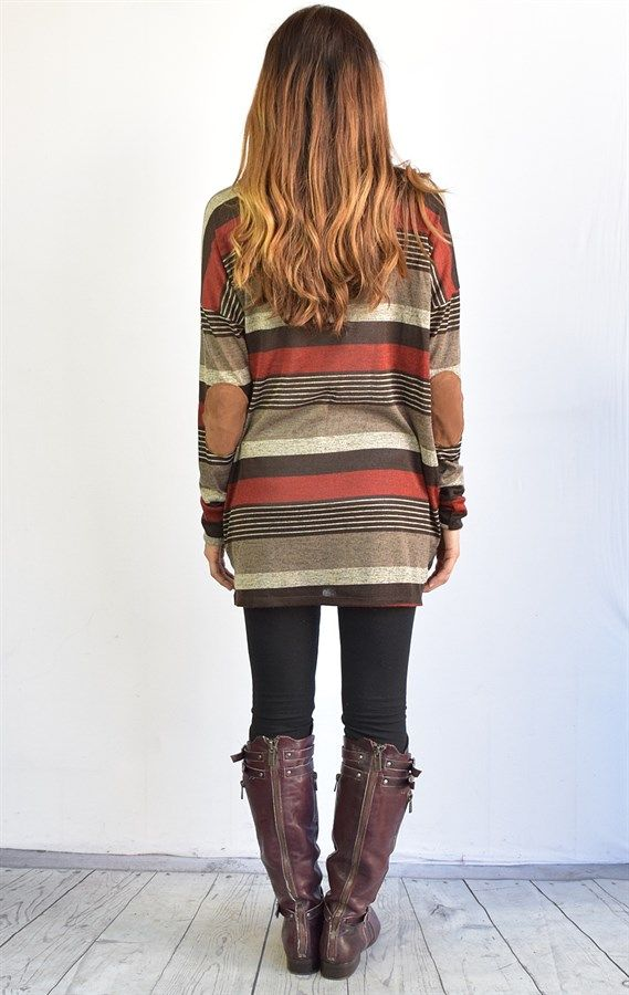 Multi Striped Suede Patch Fall Tunic S to XL   Jane