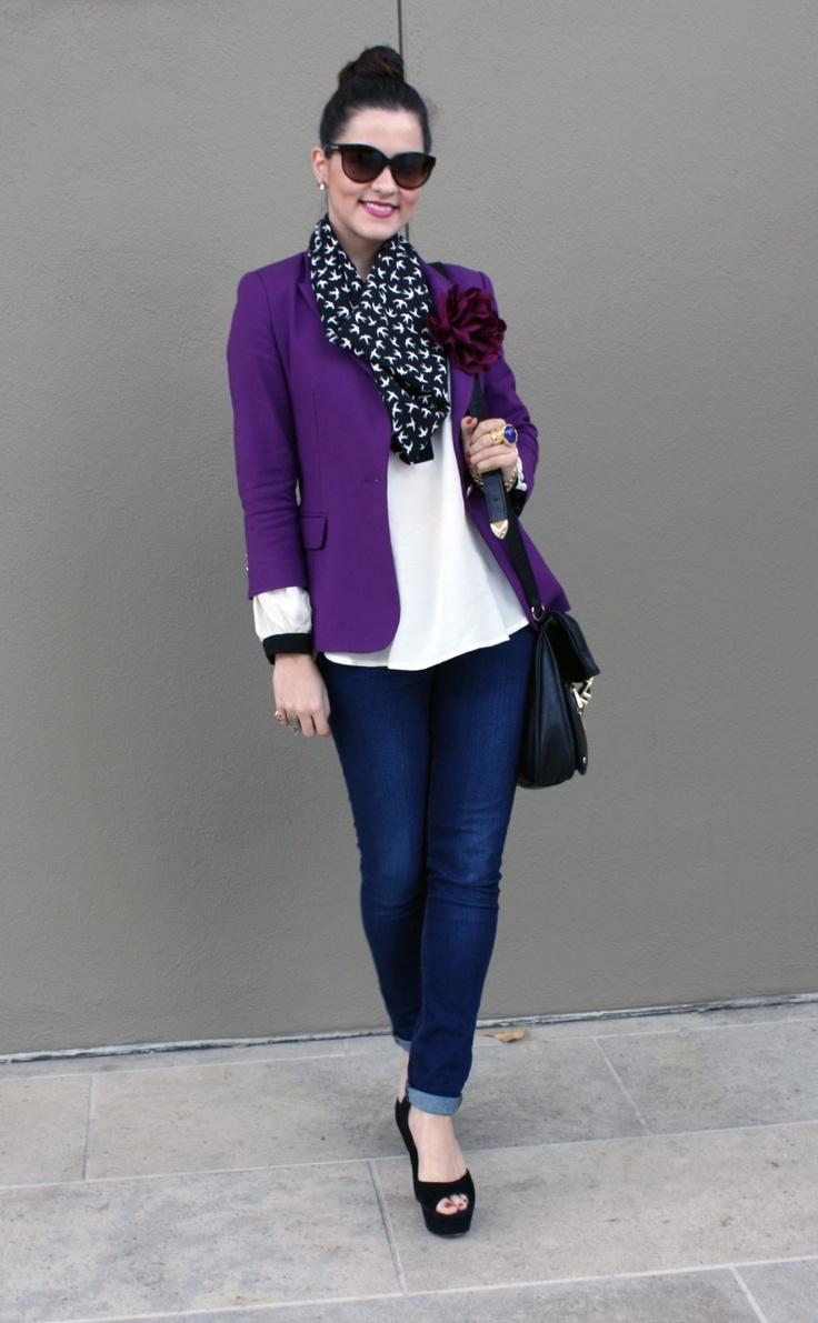 Purple blazer and scarf