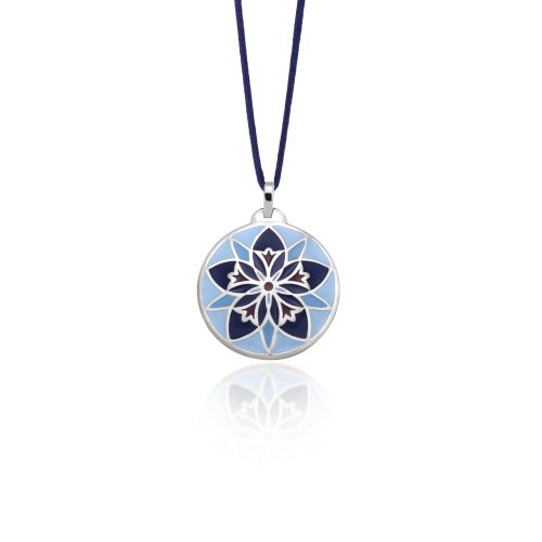 """Pendant Love Charm 2015 """"Centaurea""""in silver with a polished finish and blue enamel."""