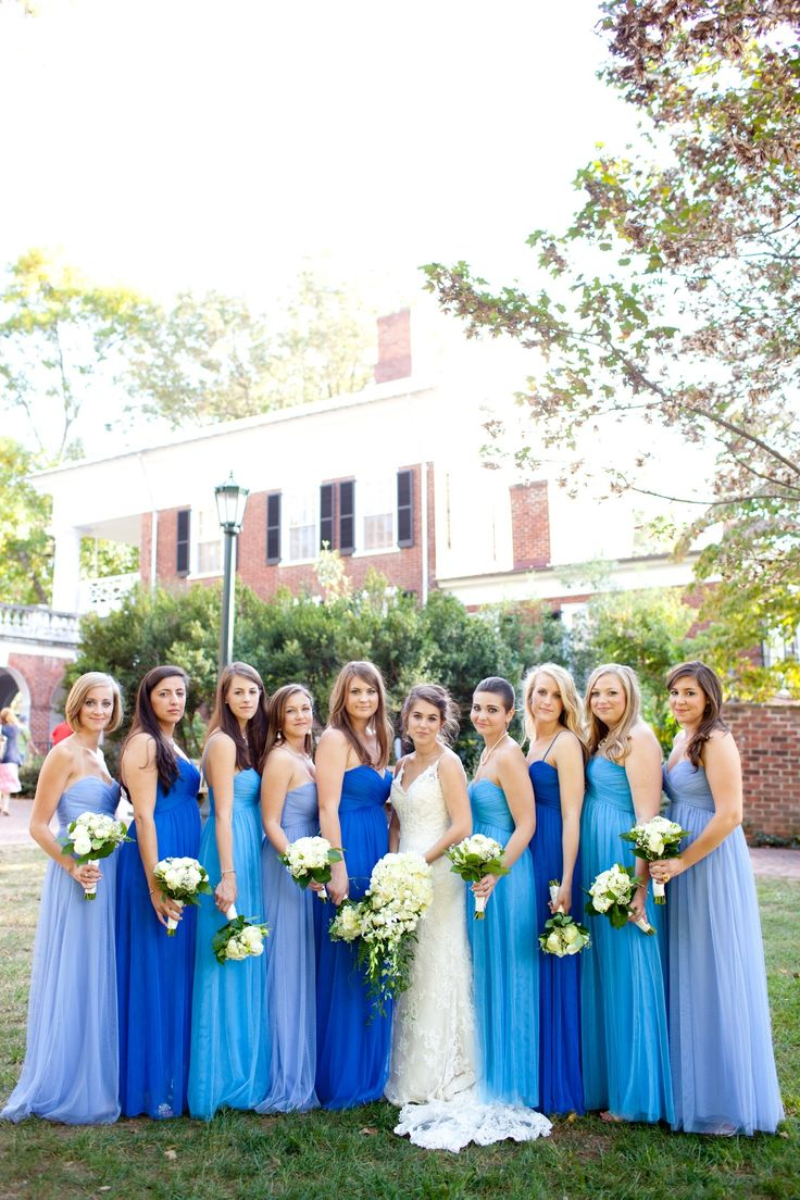 mismatch blue bridesmaids