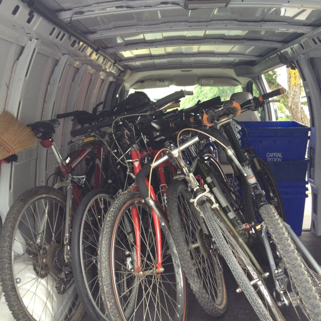 Loading a van full for Bicycles-for-humanity Victoria @B4HVictoria Thanks for the great work john!