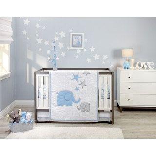 Elefant Blau 4pc Infant Bedding Set