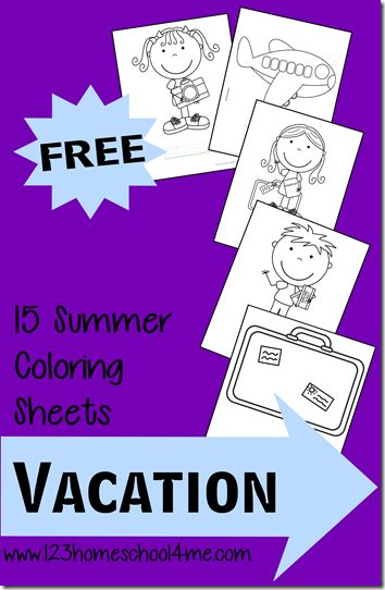 FREE Vacation Coloring Pages for kids - these are so cute and fun for summer. These are great for Toddler, Preschool, Kindergarten, and more.