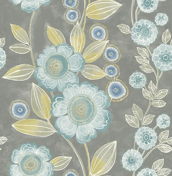 Bloom Grey Floral Wallpaper - Wallpaper