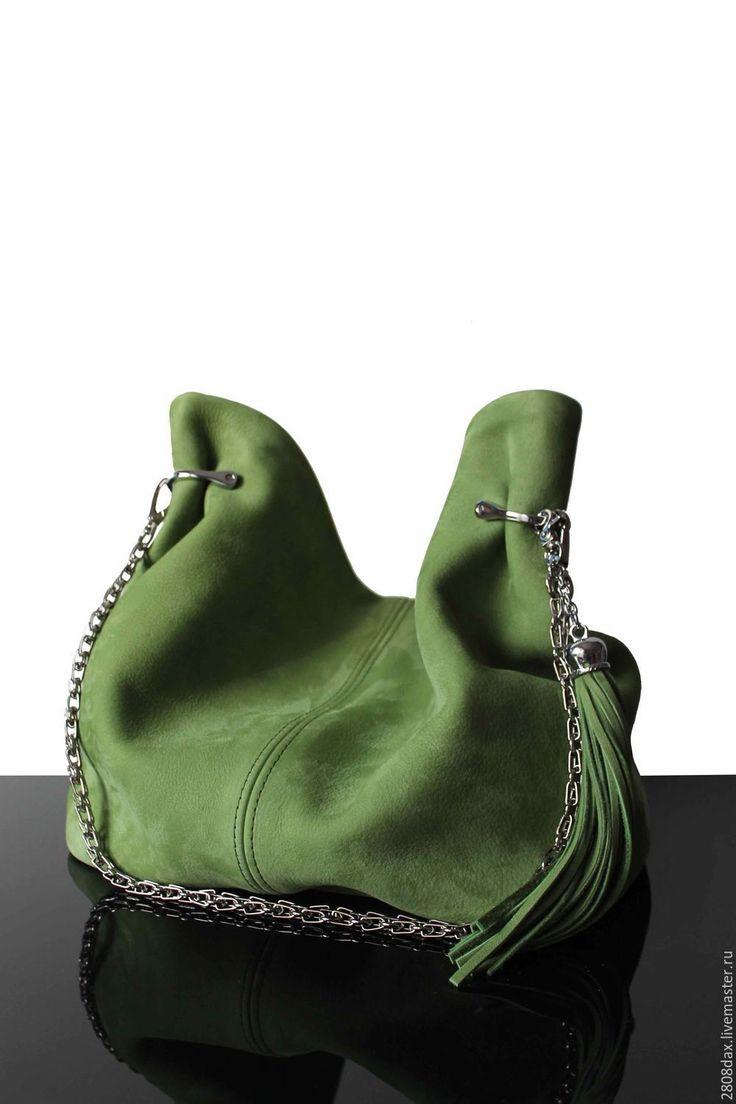 "Купить ""Granville Greenery"" Зеленая замшевая сумка, сумка замша, зеленый - сумка ручной работы"